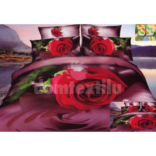 Luxusné posteľné obliečky 100% bavlnený satén s motívom červenej ruže
