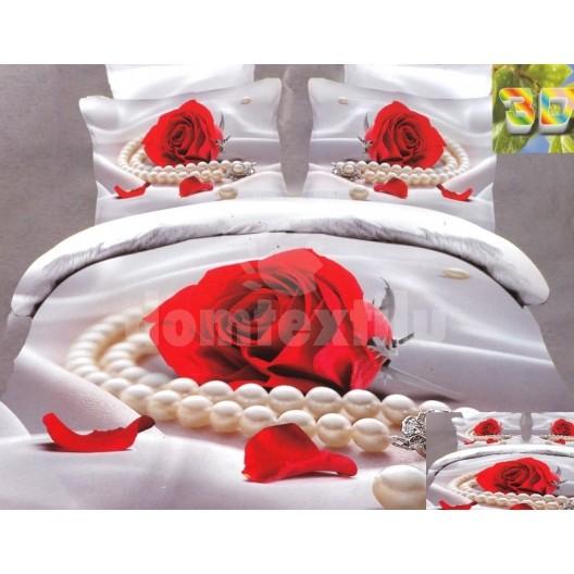 Moderné posteľné obliečky 100% bavlnený satén bielej farby s motívom červenej ruže