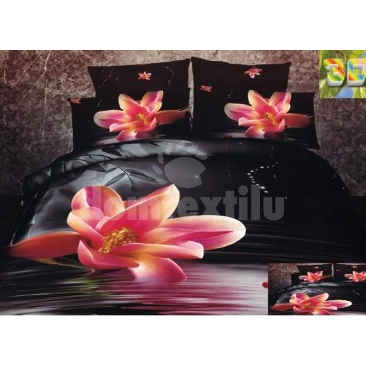 Moderné posteľné návliečky 100% bavlnený satén s ružovým kvetom