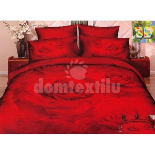 Luxusné posteľné návliečky s motívom červenej ruže