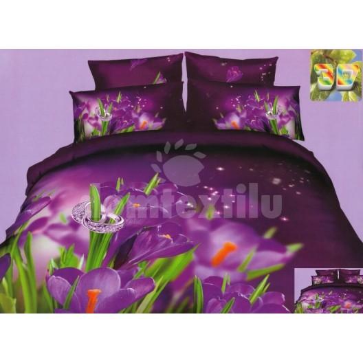 Posteľné návliečky fialovej farby s kvetom