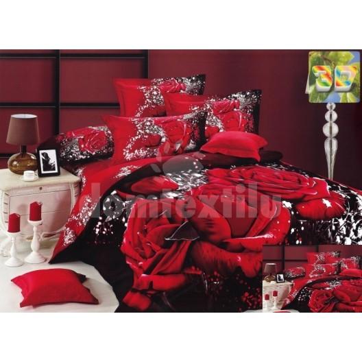 Luxusné posteľné obliečky červenj farby s ružou