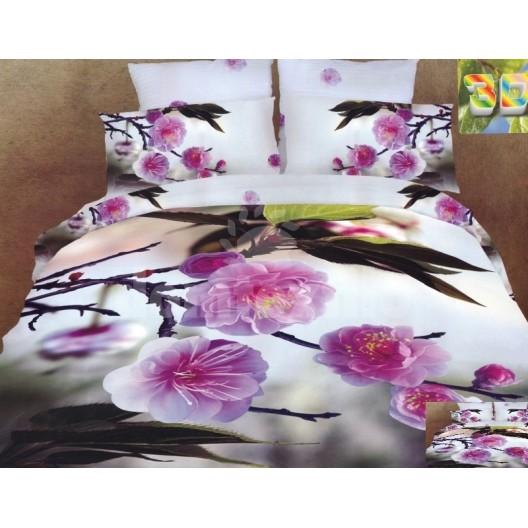 Luxusné posteľné návliečky 100% bavlnený satén s čerešňovým kvetom