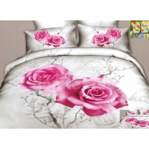 Moderné posteľné obliečky 100% bavlnený satén bielej farby s ružou