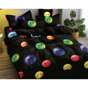 Detské čierne posteľné obliečky s farebným motívom smajlíkov emoji