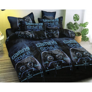 Originálne tmavo modré posteľné obliečky s motívom playstation