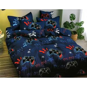 Štýlové modré posteľné obliečky s módnou potlačou playstation