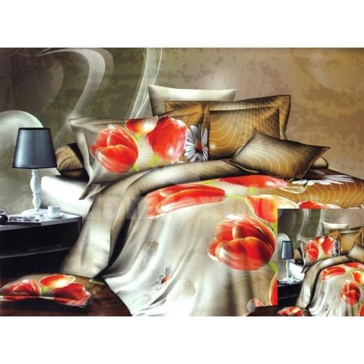 Luxusné posteľné obliečky zlatej farby s červeným tulipánom