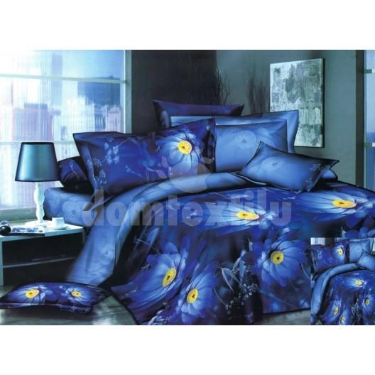 Moderné posteľné obliečky modrej farby s kvetmi