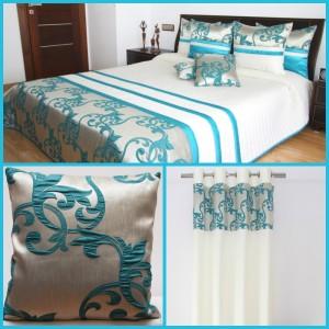 Tyrkysový dekoračný set do spálne