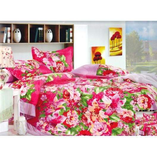 Luxusné posteľné obliečky 100% mikrovlákno v sýtej červenj farbe s kvetinami