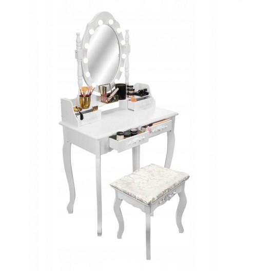 LETNÝ VÝPREDAJ Kvalitný toaletný stolík so zrkadlom a LED svetielkami