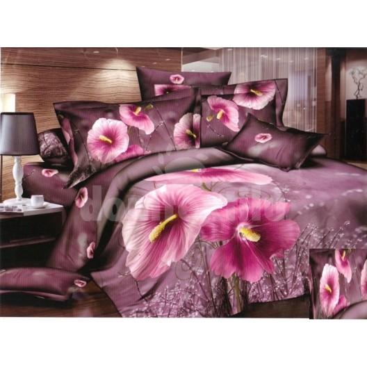 Luxusné posteľné obliečky 100% bavlnený satém ružovými kvetmi