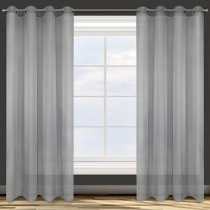 Sivá jednofarebná záclona na kruhy