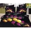 Luxusné posteľné obliečky 100% bavlnený satém tmavý čierny s tulipánmi