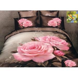 Luxusné obliečky 100% bavlnený satém hnedý s ružou