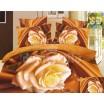 Moderné posteľné obliečky 100% bavlnený satém zlatej farby s ružou