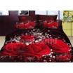 Moderné posteľné obliečky 100% bavlnený satém s červenými ružami