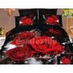 Luxusné posteľné obliečky 100% bavlnený satém čierny s červenými ružami