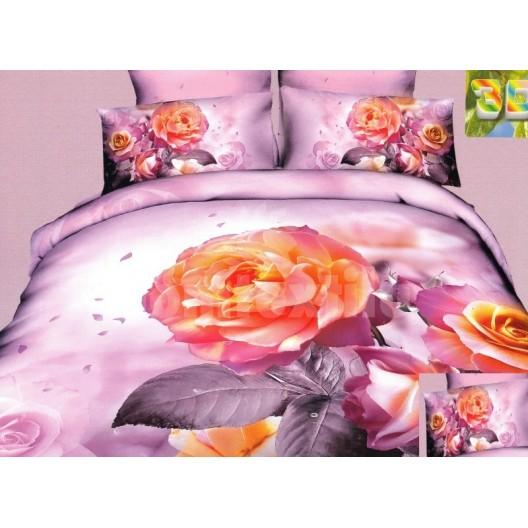 Moderné posteľné obliečky 100% bavlnený satém fialovej farby s ružou
