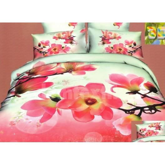 Moderné psoteľné obliečky 100% bavlnený satém pestrofarebný s kvetmi