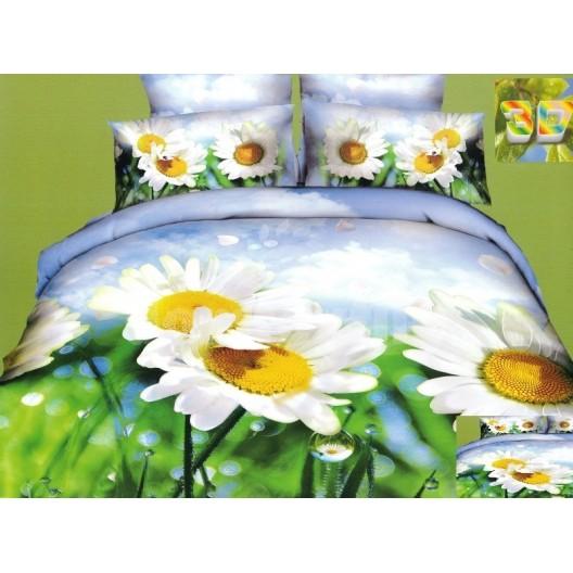 Luxusné posteľné obliečky 100% bavlnený satém s rozkvitnutou sedmokráskou