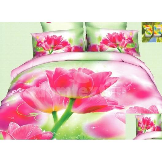 Luxusné posteľné obliečky 100% bavlnený satém s ružovými kvetmi