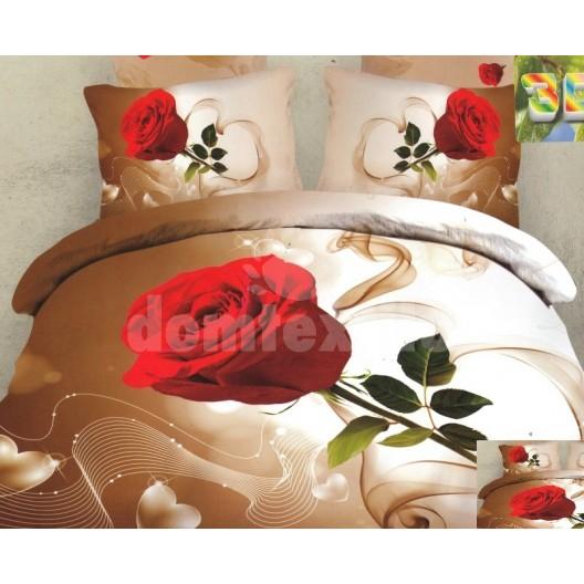 Moderné posteľné návliečky 100% bavlnený satém s ružou
