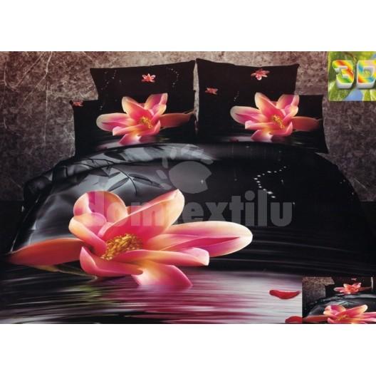 Moderné posteľné návliečky 100% bavlnený satém čiernej farby s kvetmi