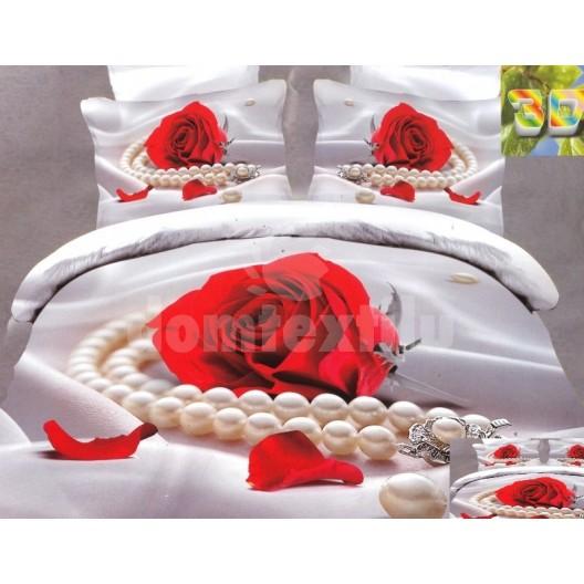 Luxusné posteľné obliečky 100% bavlnený satém ruža s perlami