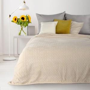 Béžová deka s geometrickým tvarom 200 x 220 cm