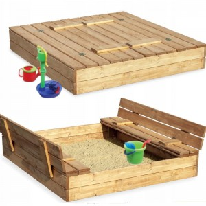 Zatvárateľné pieskovisko s lavičkami 120 x 120 cm