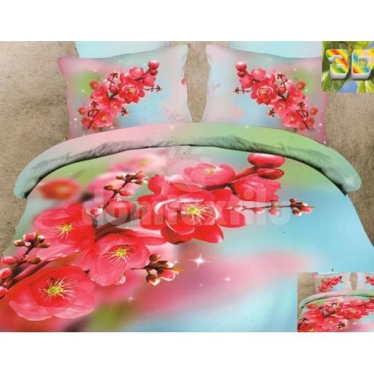 Luxusné posteľné obliečky 100% bavlnený satém farebný s kvetinami