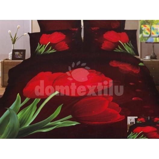 Moderné posteľné obliečky 100% bavlnený satém tmavý s červenými tulipánmi