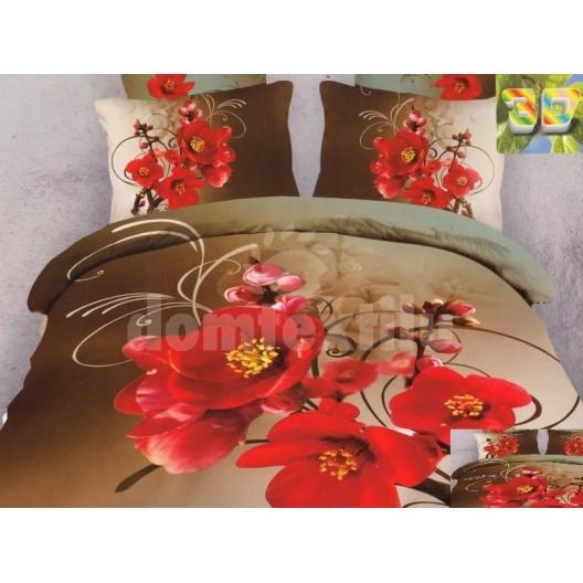 Moderné posteľné obliečky 100% bavlnený satém hnedej farby s kvetinami