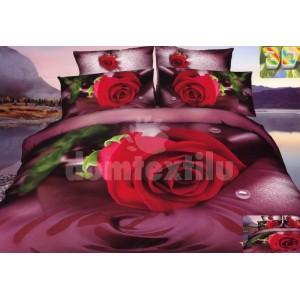 Luxusné posteľné obliečky 100% bavlnený satém s červenou ružou