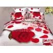 Luxusné posteľné obliečky 100% bavlnený satém bielej farby s ružou