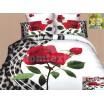 Moderné posteľné návliečky 100% bavlnený satém bielej farby s ružou