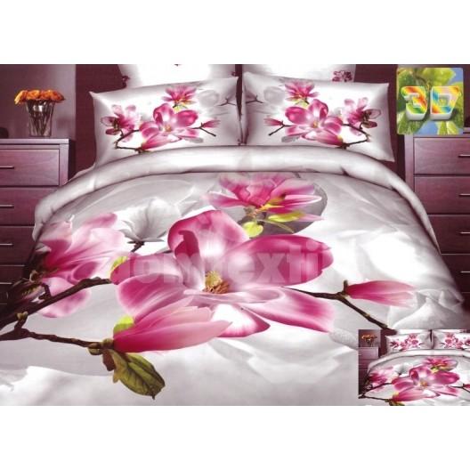 Moderné posteľné návliečky 100% bavlnený satém svetlý s kvetinami