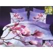 Luxusné posteľné obliečky 100% bavlnený satém svetlofialovej farby s ružovým kvetom