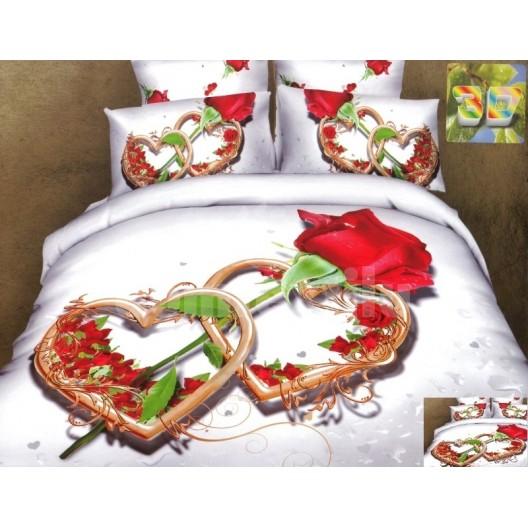 Luxusné posteľné obliečky 100% bavlnený satém biely s ružou