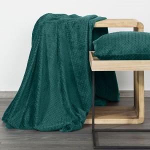 Tmavo tyrkysová hrejivá deka s módnym vzorom 170 x 210 cm