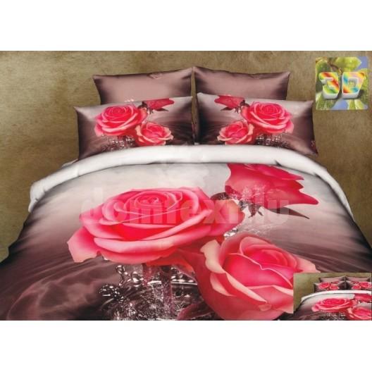 Luxusné posteľné obliečky 100% bavlnený satém s ružami