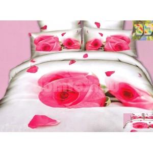 Luxusné posteľné obliečky 100% bavlnený satém bielej farby s ružami
