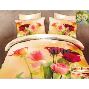 Luxusné posteľné obliečky 100% bavlnený satém s kvetinami