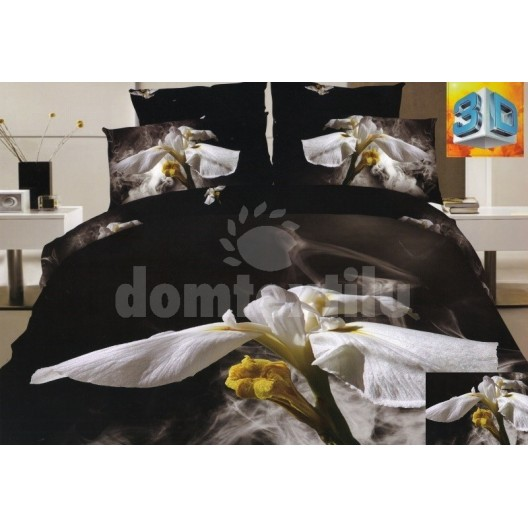 Luxusné posteľné obliečky 100% bavlnený satém s bielymi kvetmi