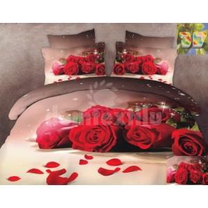 Luxusné posteľné obliečky100% bavlnený satém s ružami