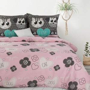Roztomilé detské ružové posteľné obliečky so zvieratkami 140 x 200