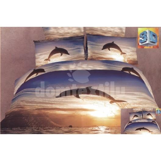 Luxusné posteľné obliečky 100% bavlnený satém s delfiním motívom