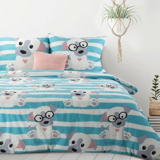 Detské bavlnené modré posteľné obliečky so psíkom 140 x 200 cm
